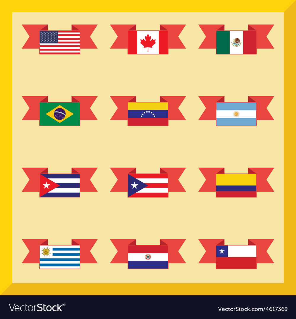 Flat flags north and south america vector | Price: 1 Credit (USD $1)