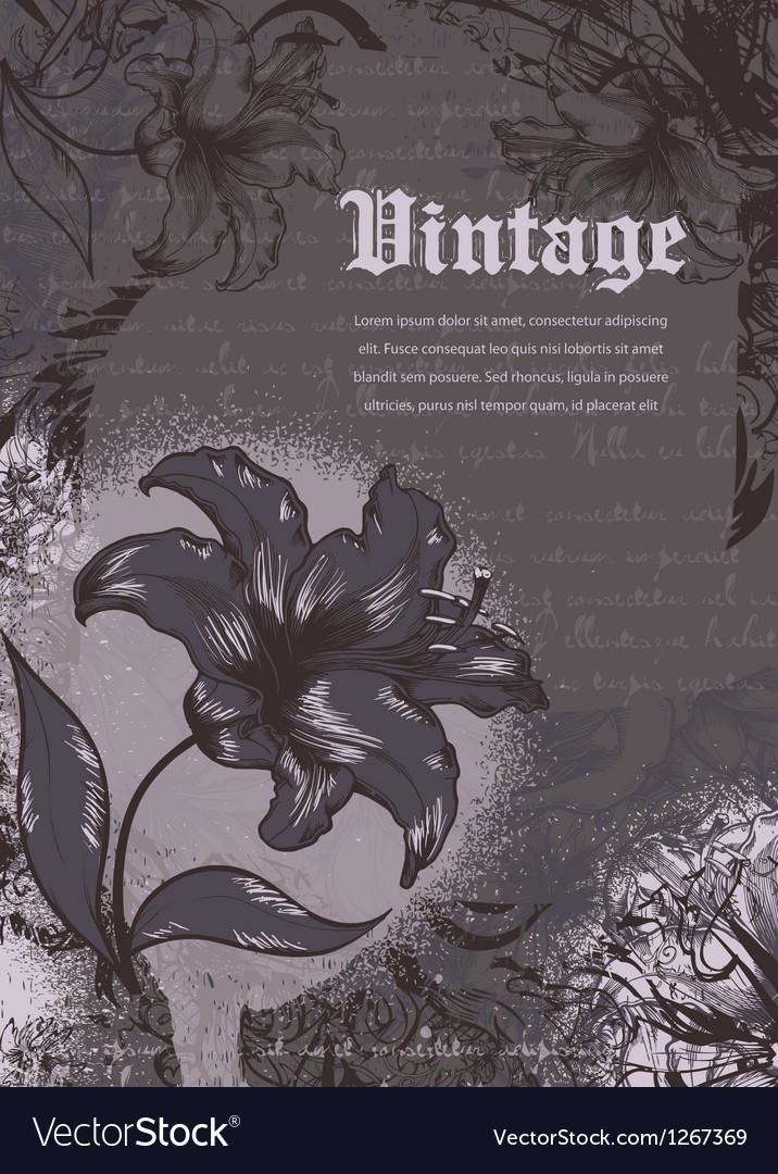 Grunge floral background vector   Price: 1 Credit (USD $1)