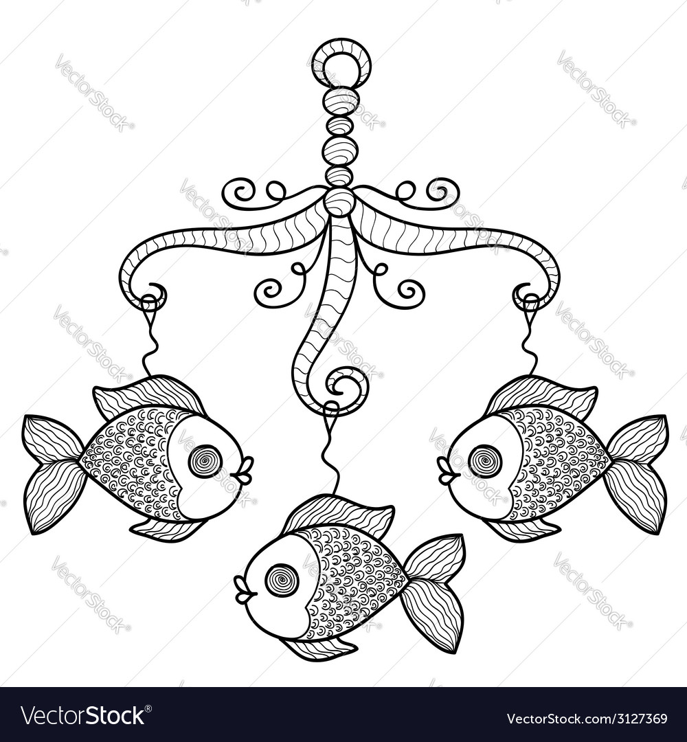 Hand drawn baby crib hanging mobile toy vector | Price: 1 Credit (USD $1)