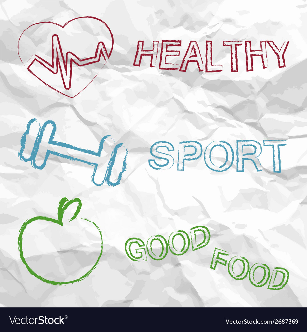 Healthy sport food on a creased paper vector | Price: 1 Credit (USD $1)