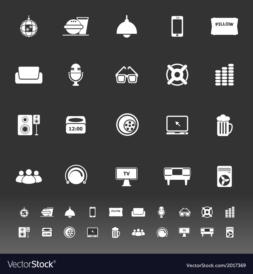 Home theater icons on gray background vector | Price: 1 Credit (USD $1)