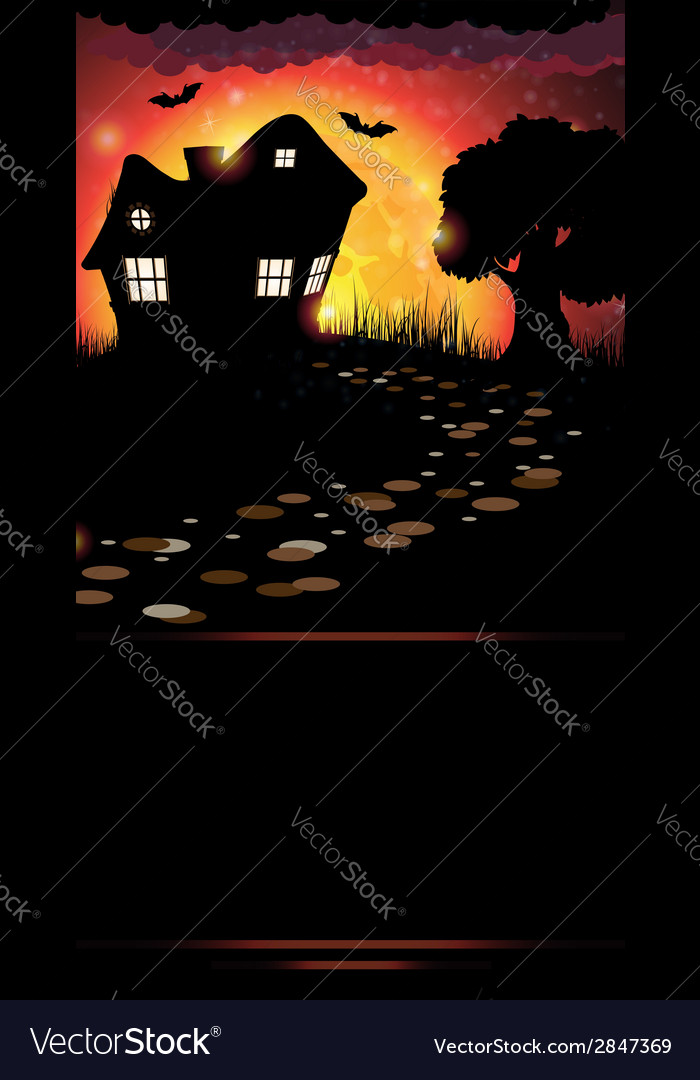 House and full moon vector | Price: 1 Credit (USD $1)