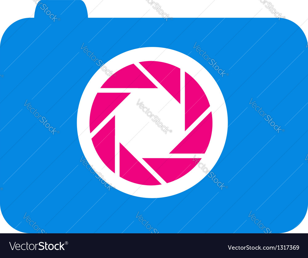 Photography logo in blue and pink vector | Price: 1 Credit (USD $1)