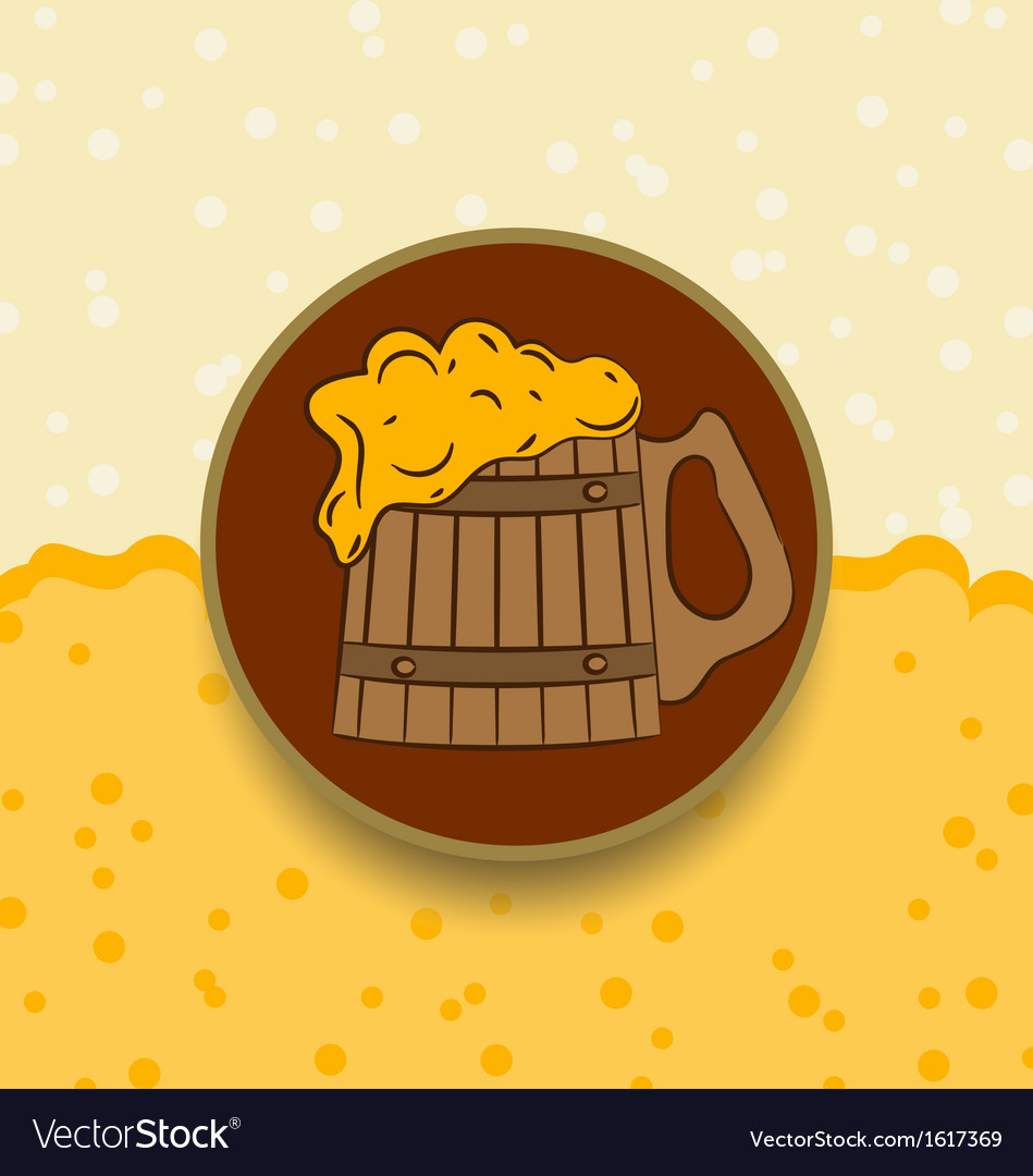 Vintage card wooden mug beer vector | Price: 1 Credit (USD $1)