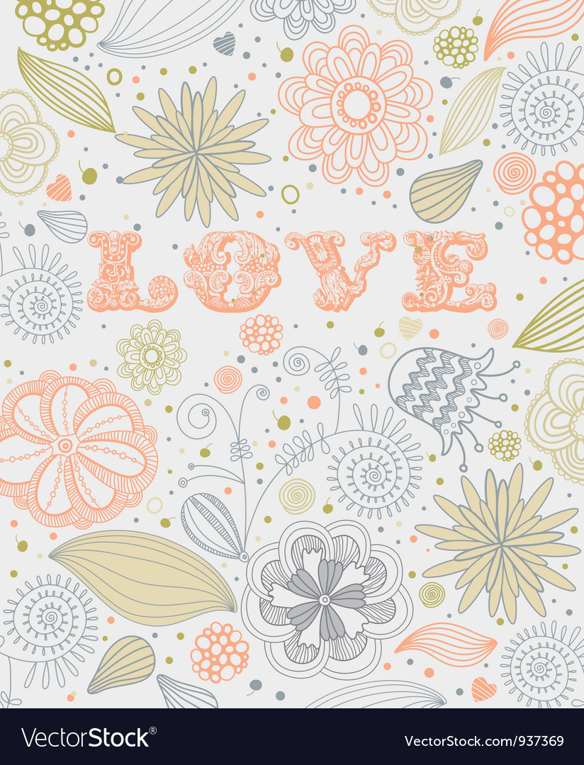 Vintage floral love pattern vector | Price: 1 Credit (USD $1)