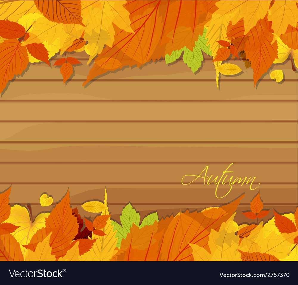 Autumn leaves background on wood vector | Price: 1 Credit (USD $1)