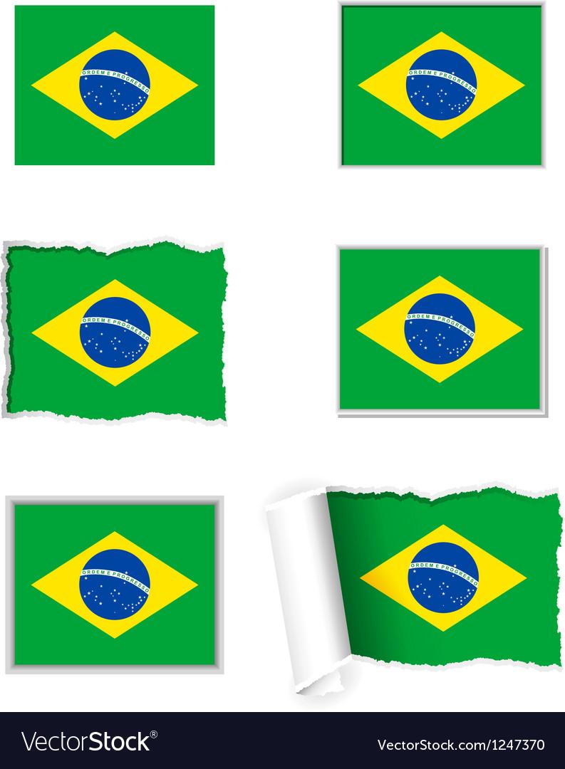 Brazil flag set vector | Price: 1 Credit (USD $1)