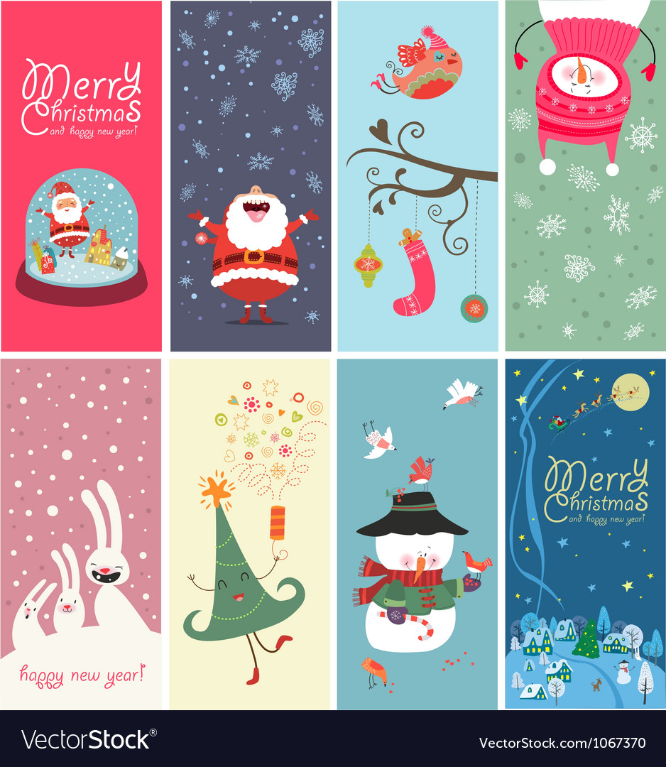 Christmas banner with funny characters vector | Price: 3 Credit (USD $3)