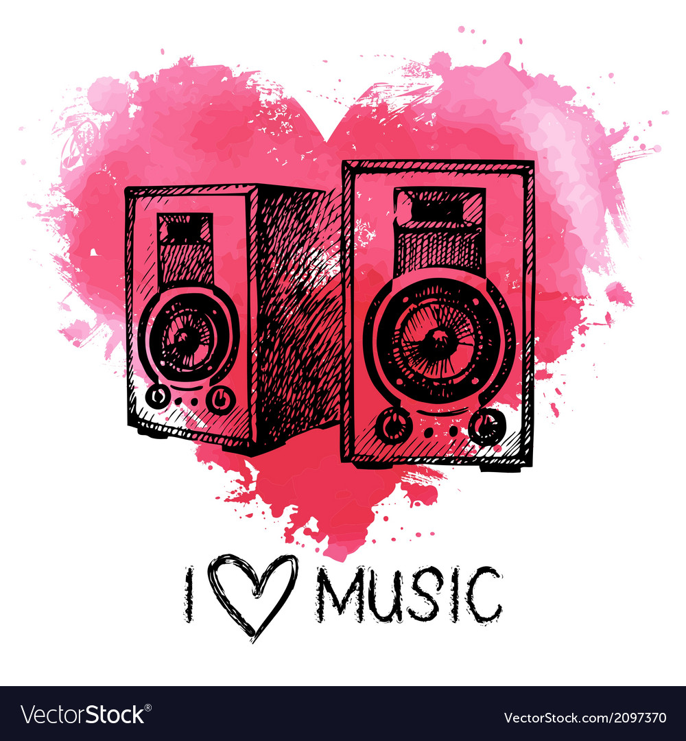 Music background with splash watercolor heart vector   Price: 1 Credit (USD $1)