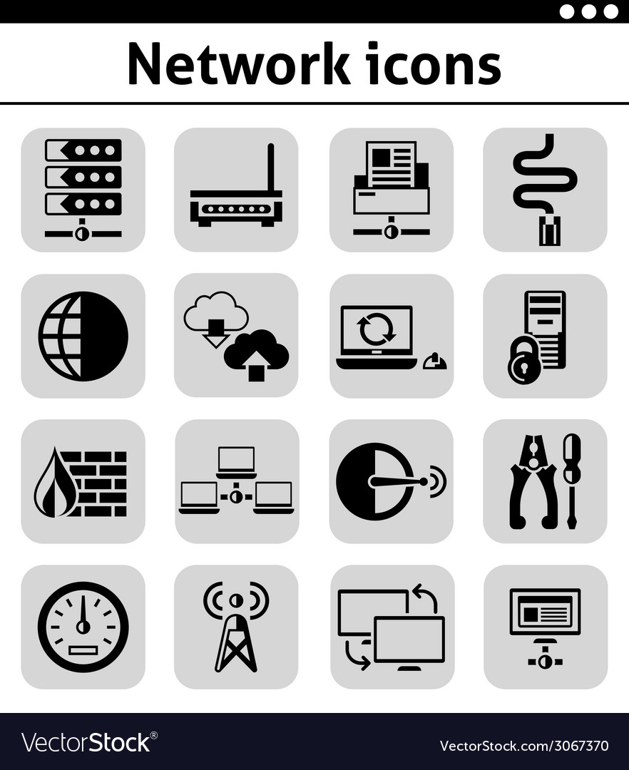 Network icons set black vector | Price: 1 Credit (USD $1)