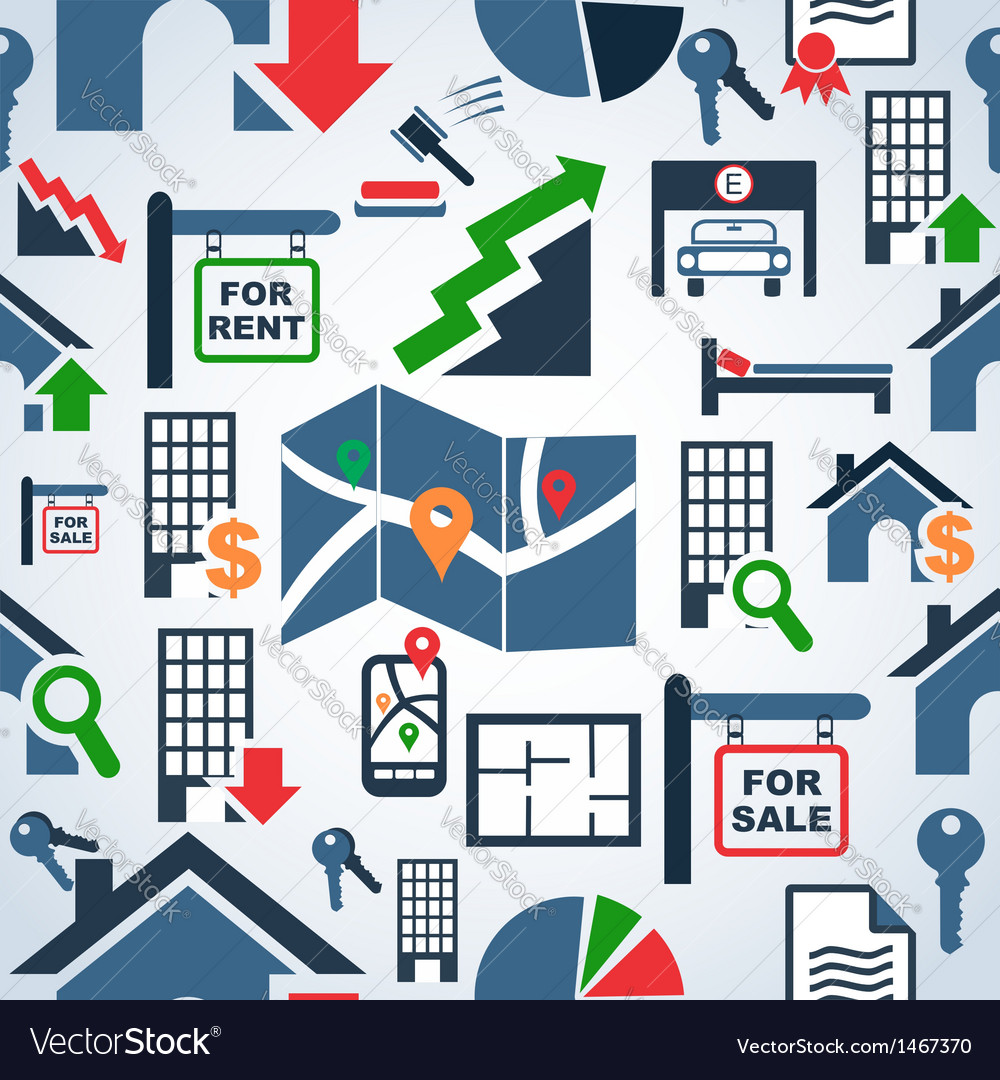 Property services market pattern vector | Price: 1 Credit (USD $1)