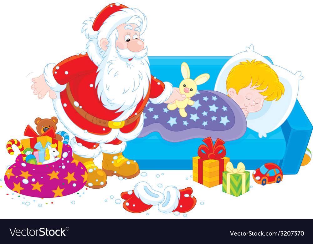 Santa with gifts for a child vector   Price: 1 Credit (USD $1)
