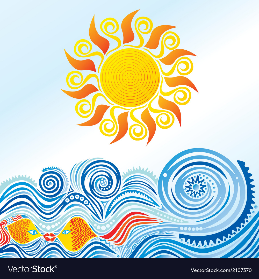 Sea sun fishes nature pattern background vector | Price: 1 Credit (USD $1)