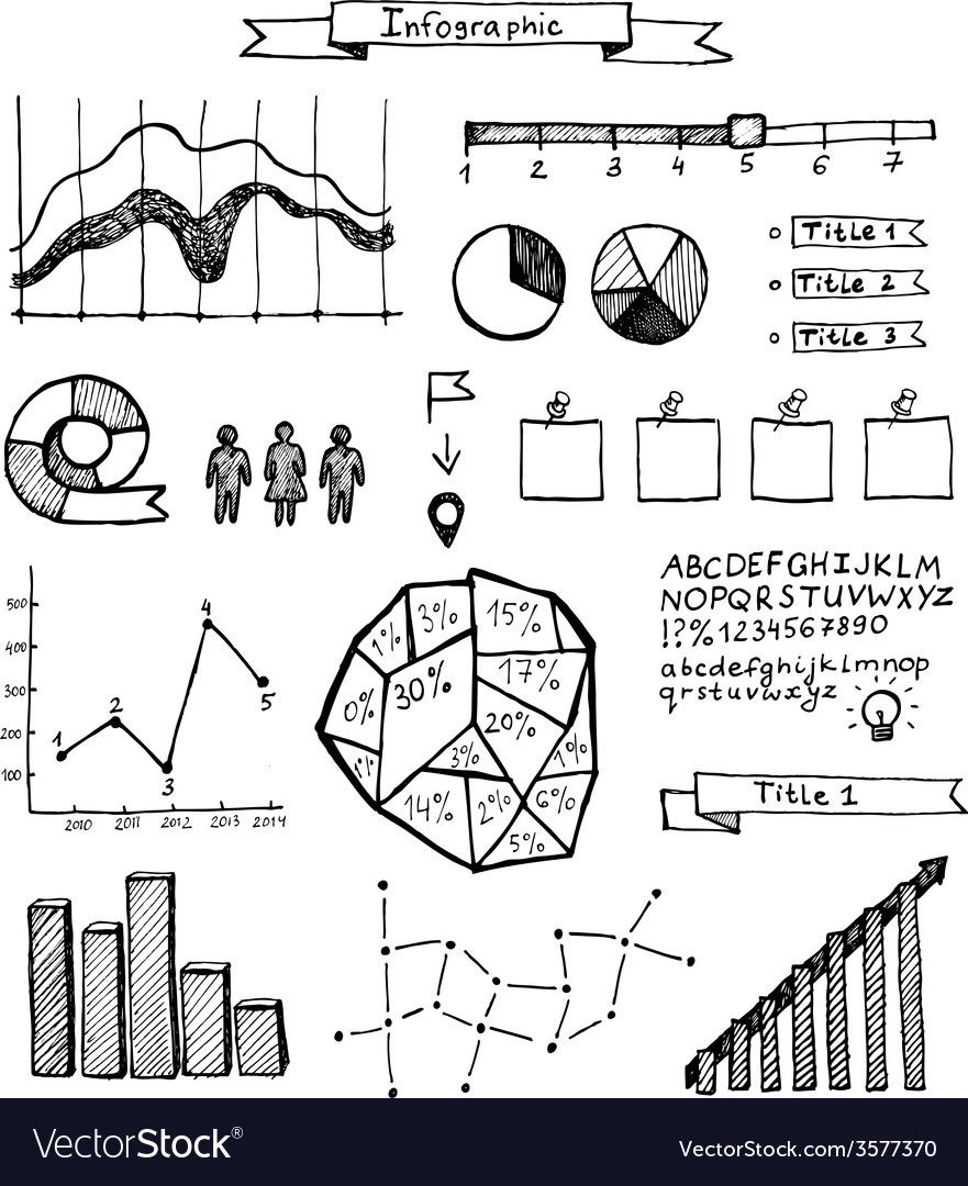 Set of hand drawn doodle infographics vector | Price: 1 Credit (USD $1)