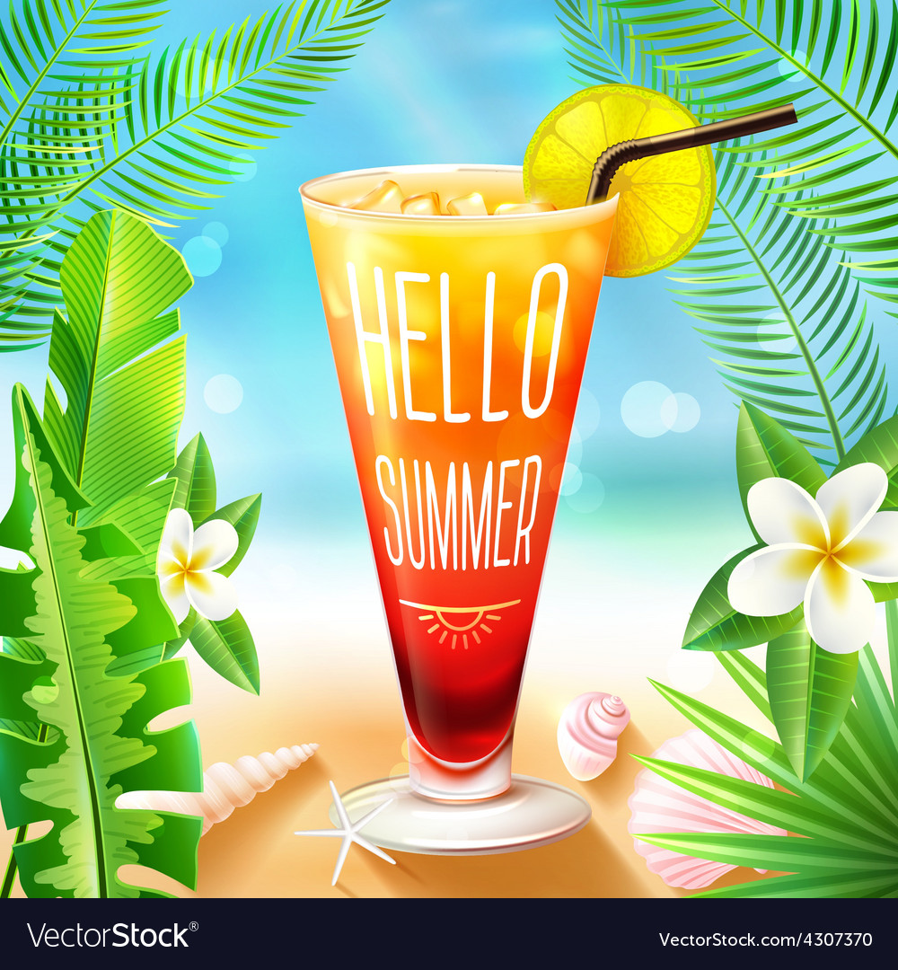 Summer design with cocktail vector | Price: 1 Credit (USD $1)