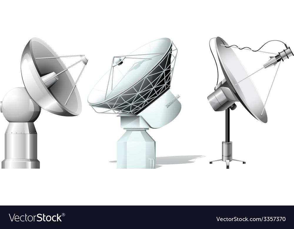 Three satellites vector | Price: 1 Credit (USD $1)