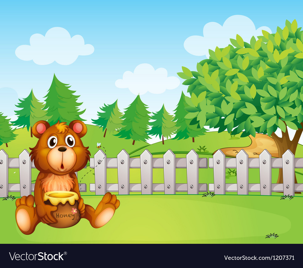 A bear holding a honey at the backyard vector | Price: 1 Credit (USD $1)