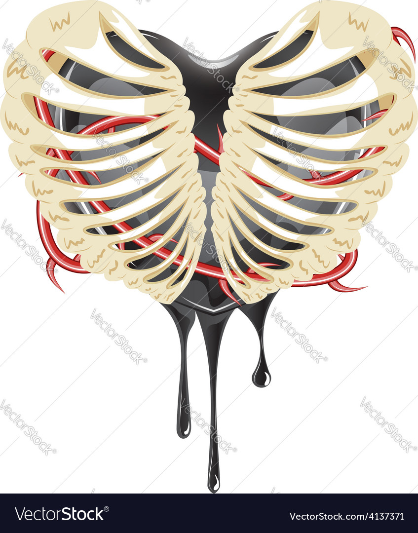 Black heart in thorax vector | Price: 3 Credit (USD $3)