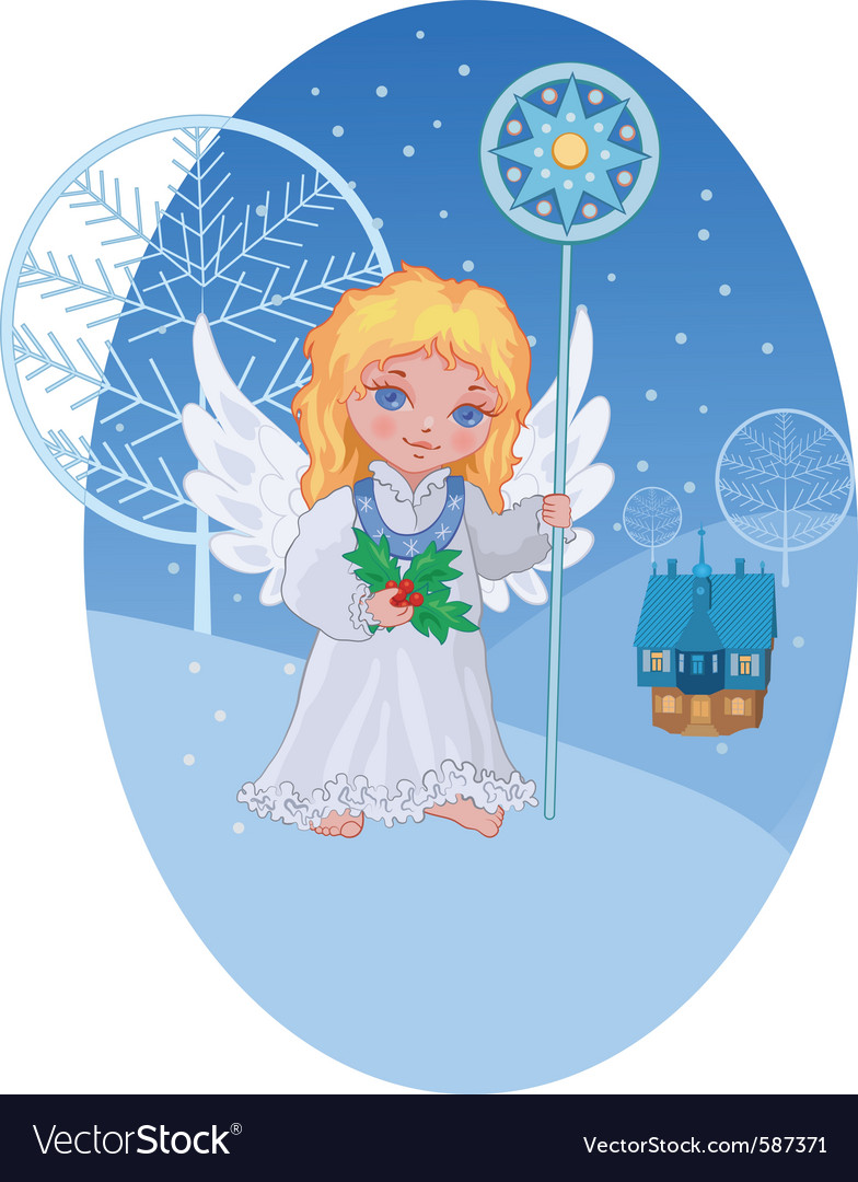 Christmas cute angel with star staff vector | Price: 1 Credit (USD $1)