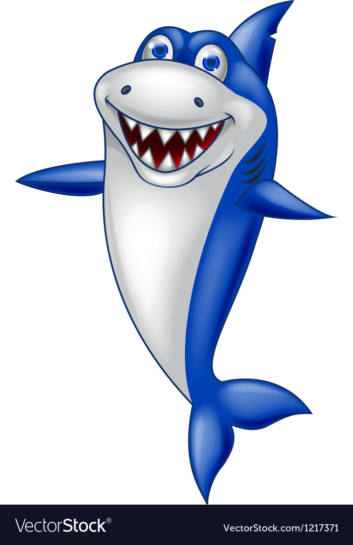Cute smiling shark cartoon vector | Price: 1 Credit (USD $1)
