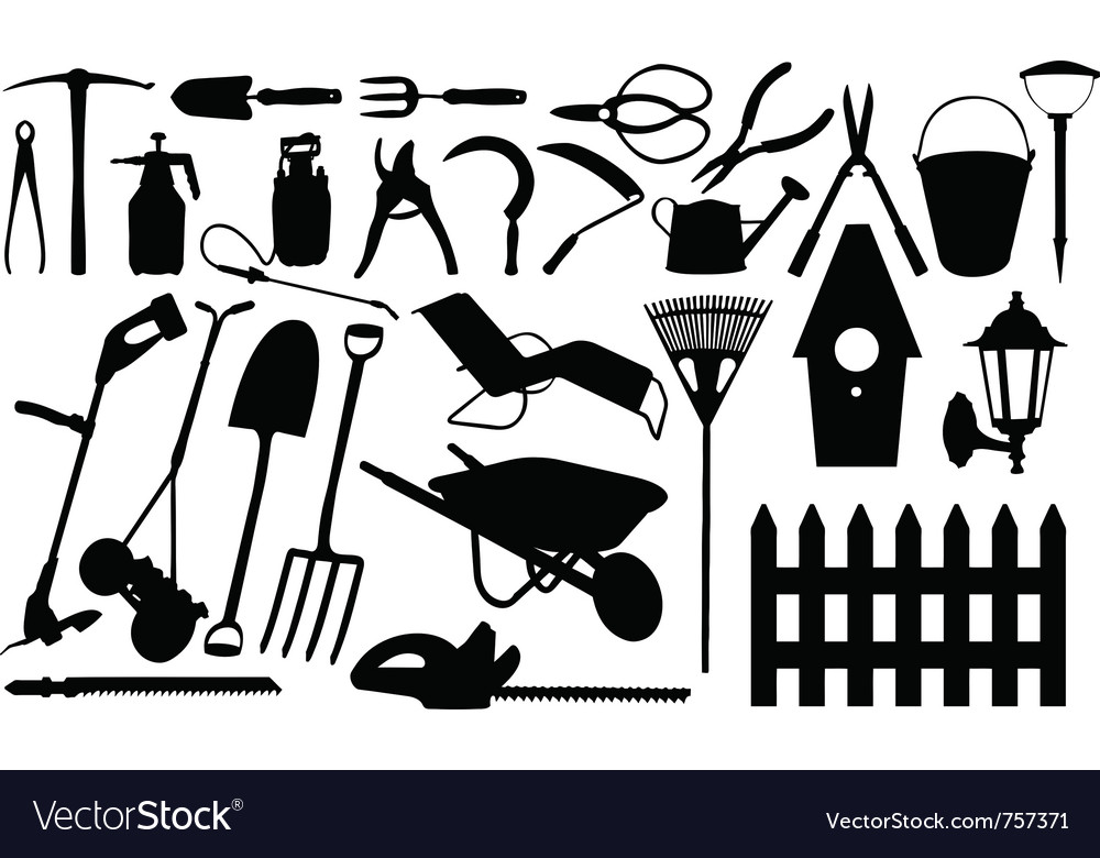 Gardening tools collage vector