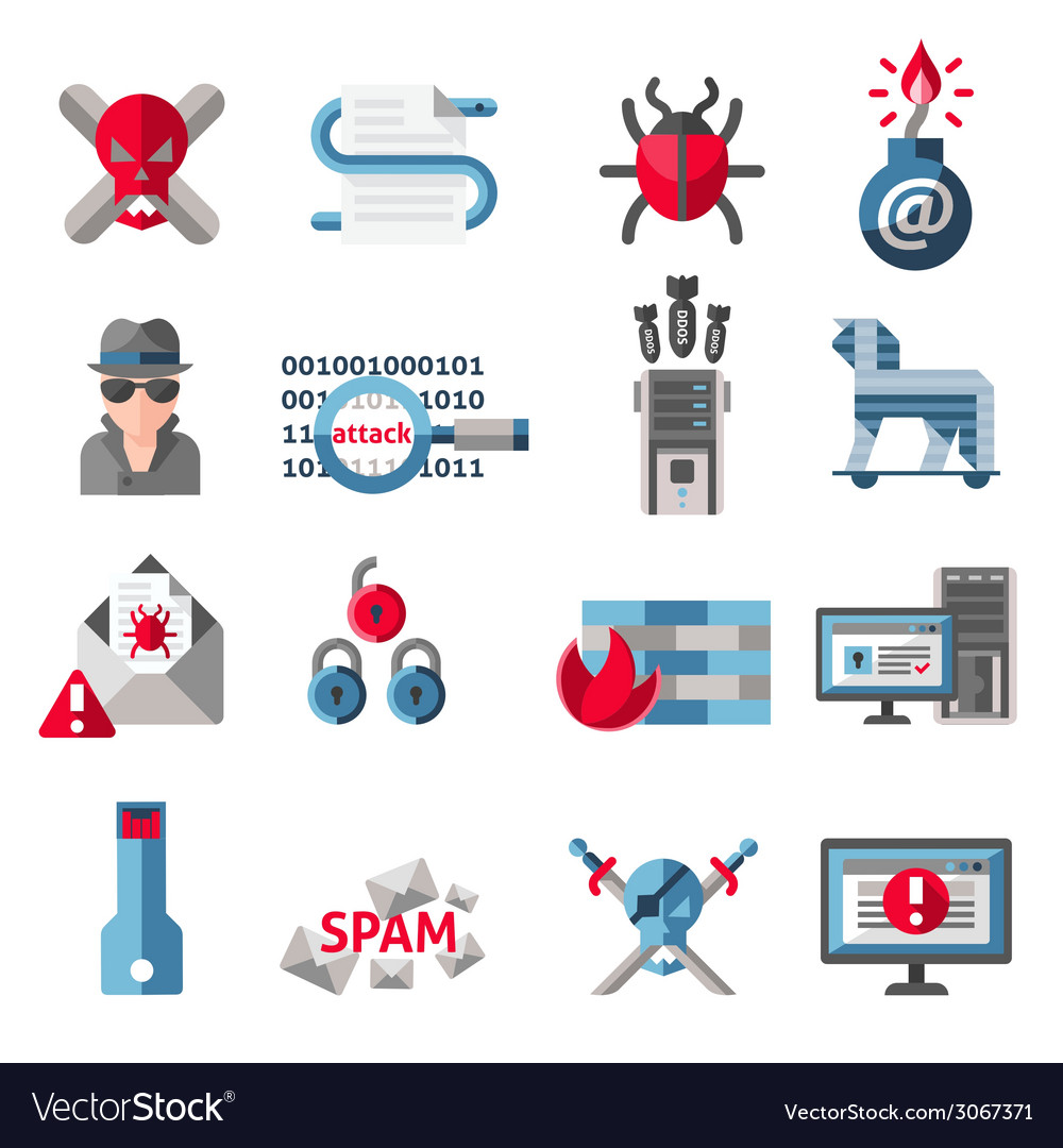 Hacker icons set vector | Price: 1 Credit (USD $1)