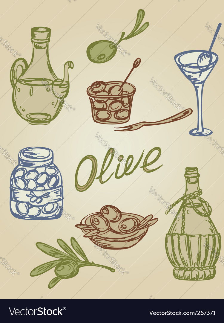 Retro olive icons vector | Price: 1 Credit (USD $1)