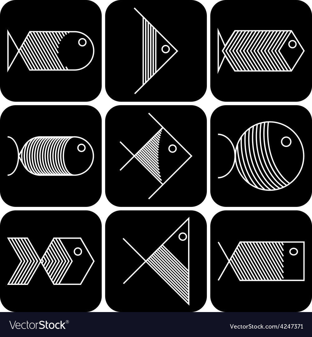 Set of white fish icons on black background vector | Price: 1 Credit (USD $1)