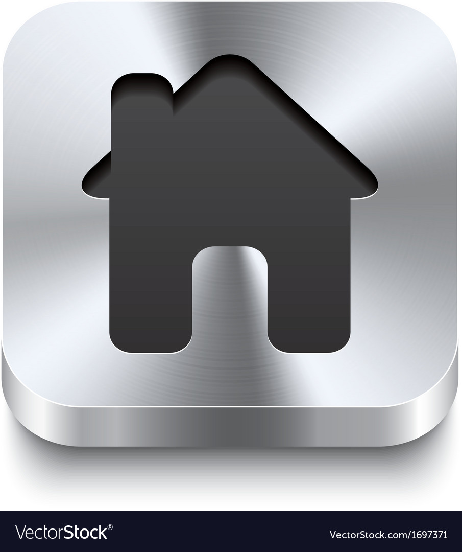 Square metal button perspektive - house icon vector | Price: 1 Credit (USD $1)