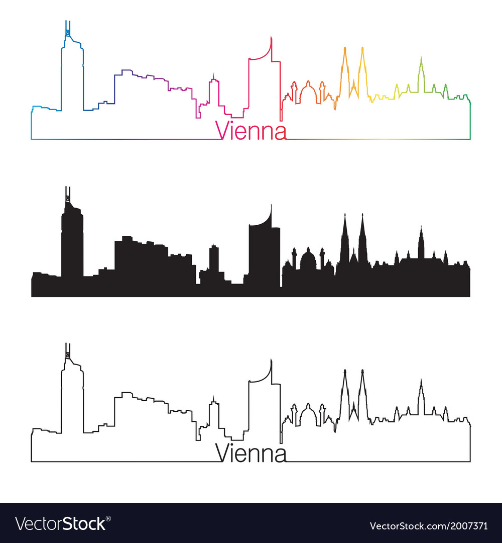Vienna skyline linear style with rainbow vector | Price: 1 Credit (USD $1)