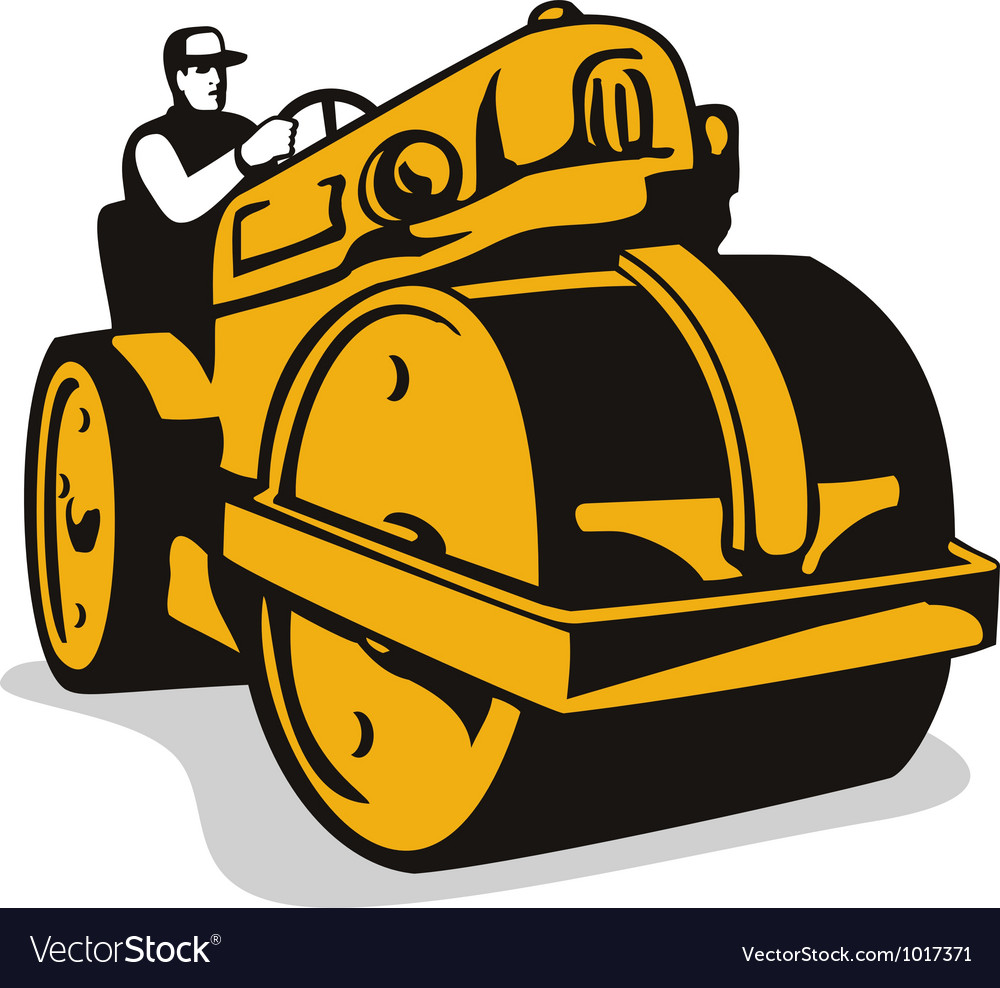 Vintage road roller retro vector | Price: 1 Credit (USD $1)