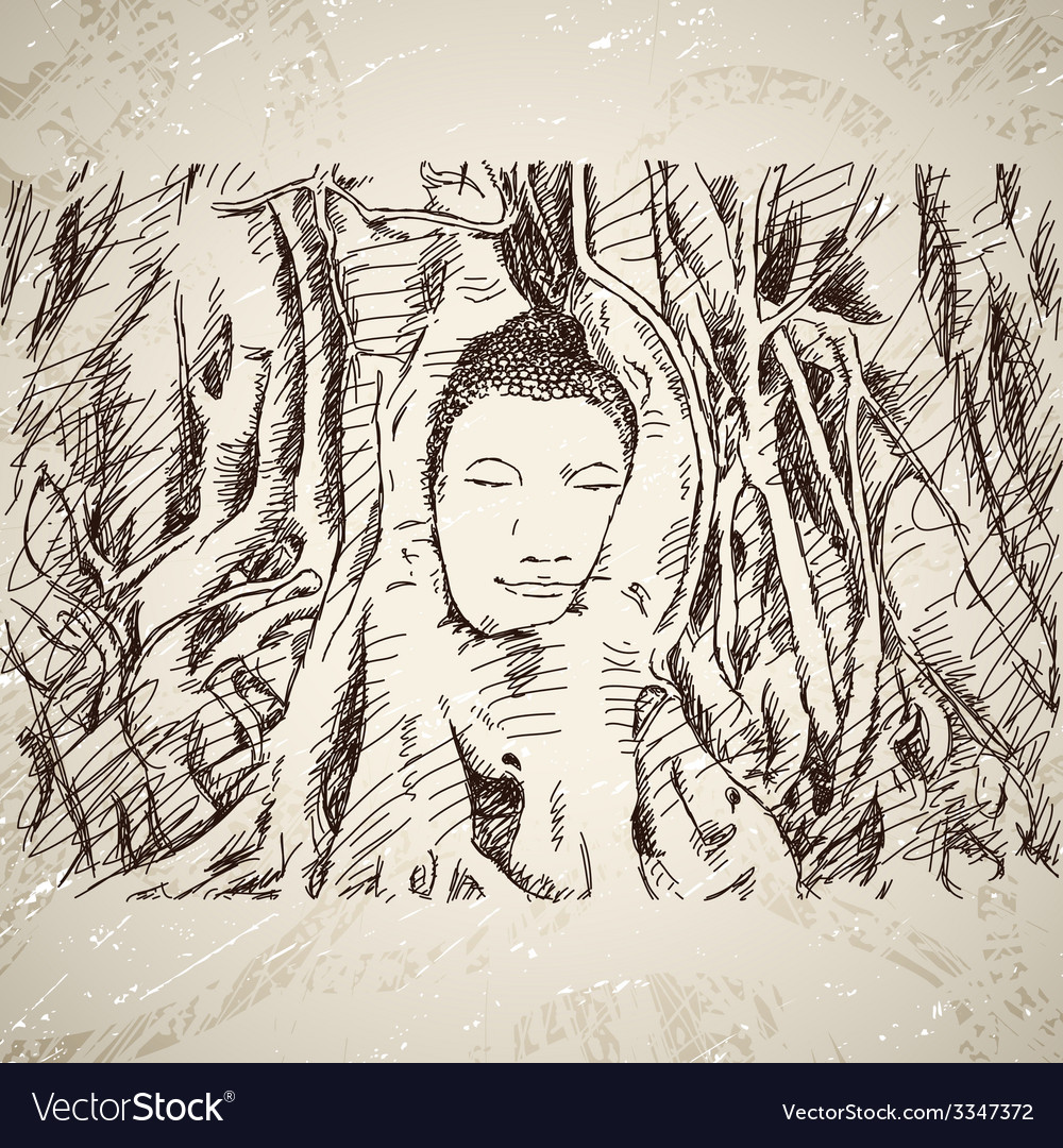 Buddha head in tree roots in ayutthaya vector | Price: 1 Credit (USD $1)