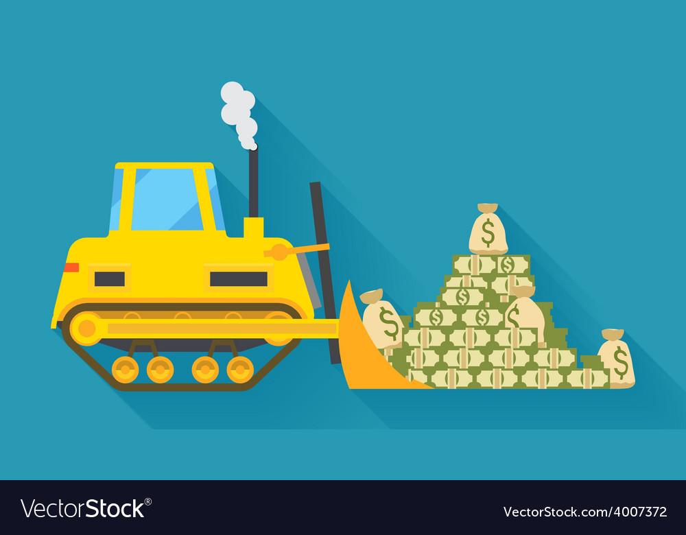 Bulldozer pilling money vector | Price: 1 Credit (USD $1)