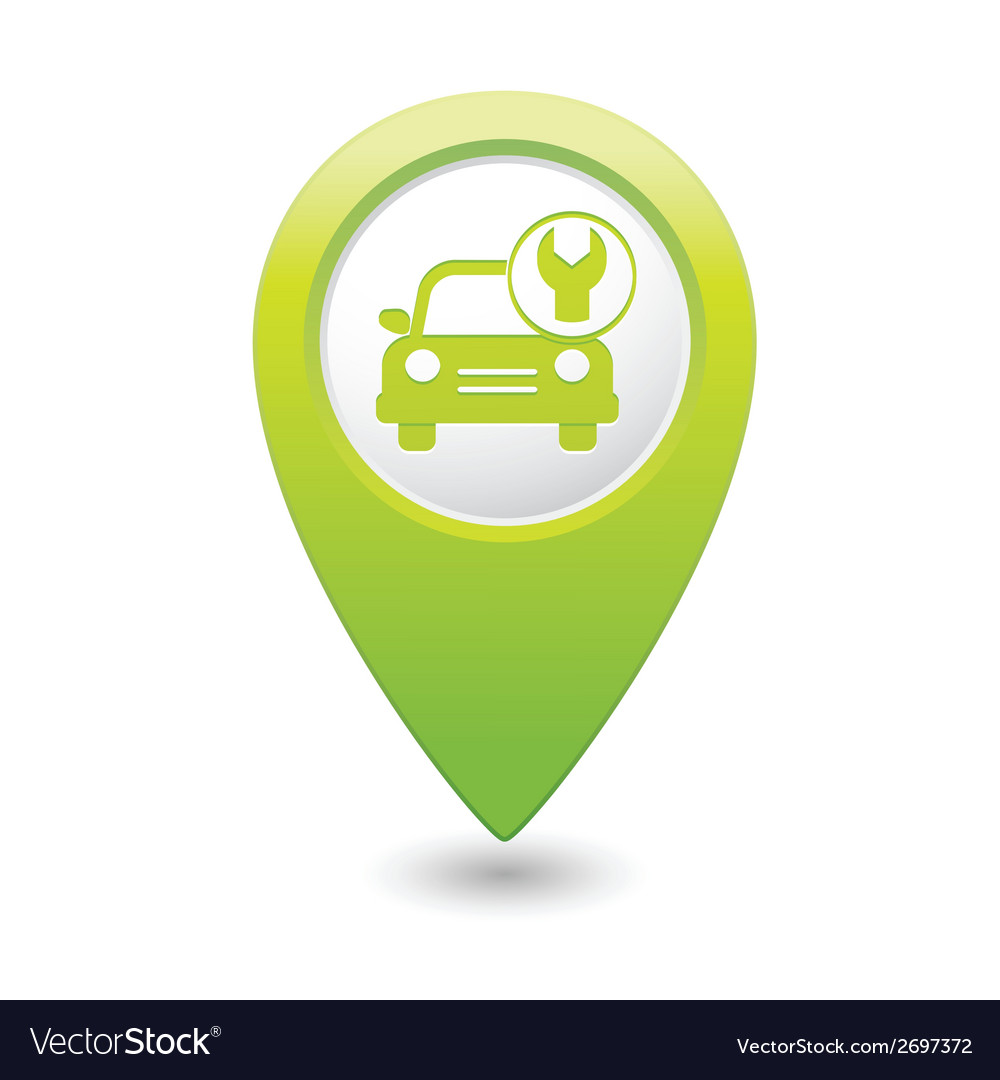 Car with tool icon map pointer green vector | Price: 1 Credit (USD $1)