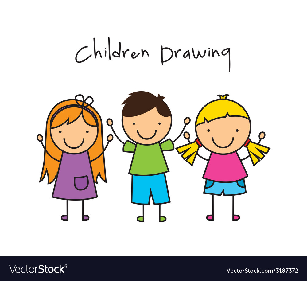 Children drawing design vector | Price: 1 Credit (USD $1)