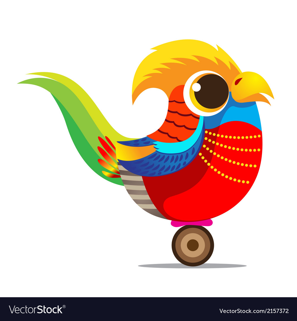 Golden pheasant cute cartoon abstract vector | Price: 1 Credit (USD $1)