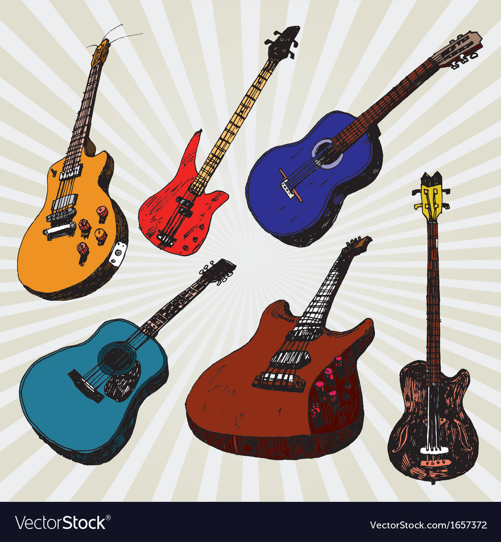 Guitars colorful vector | Price: 1 Credit (USD $1)