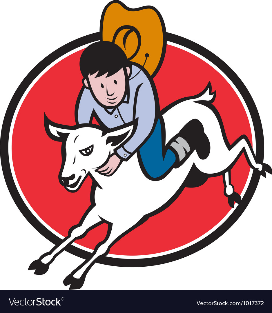 Junior rodeo cowboy riding sheep vector | Price: 1 Credit (USD $1)