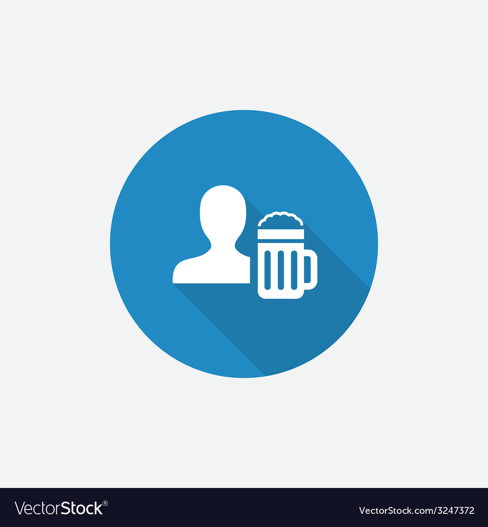 Man with beer glass flat blue simple icon with vector   Price: 1 Credit (USD $1)