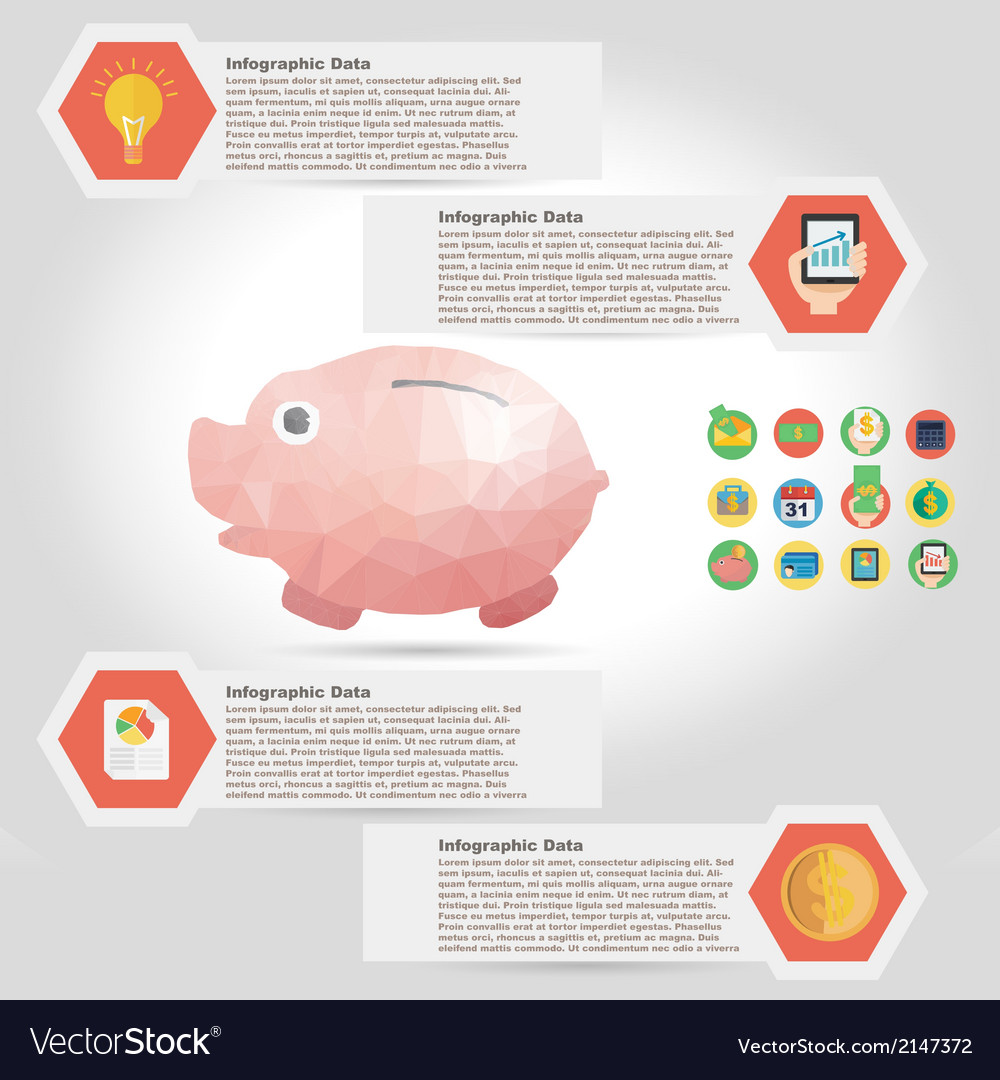 Piggy bank infographic element in polygon design vector | Price: 1 Credit (USD $1)