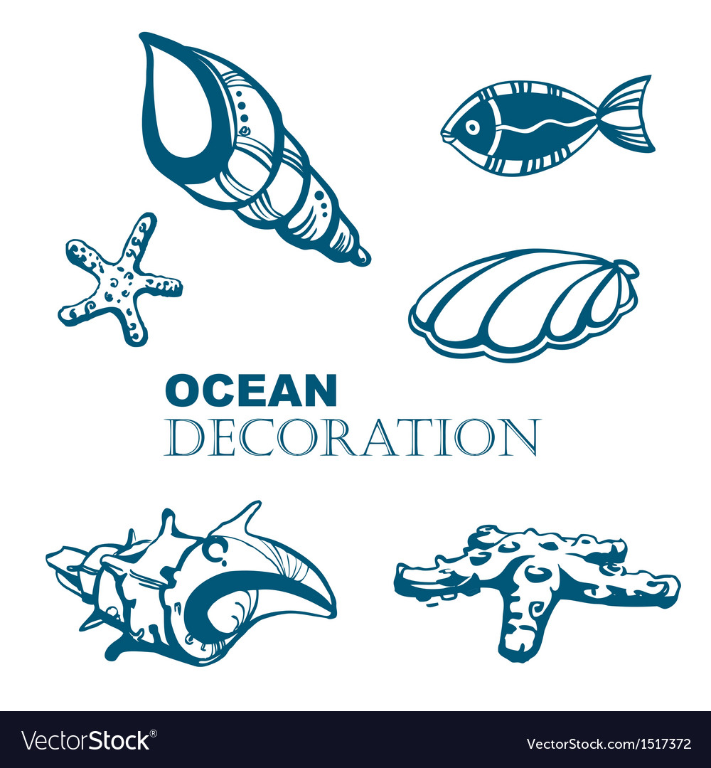 Set of ocean decoration vector | Price: 1 Credit (USD $1)