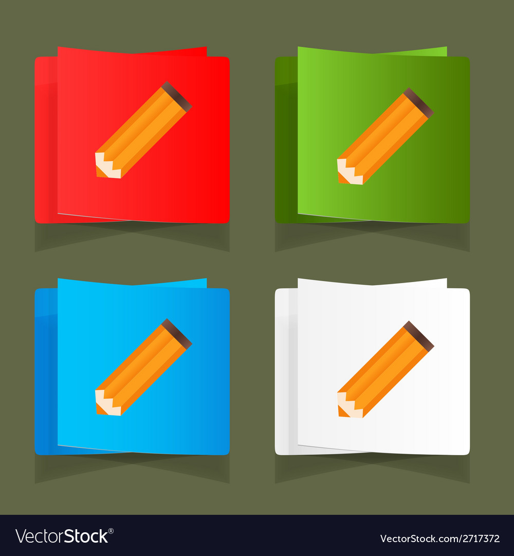 Set of simple icons pencil orange eps vector | Price: 1 Credit (USD $1)