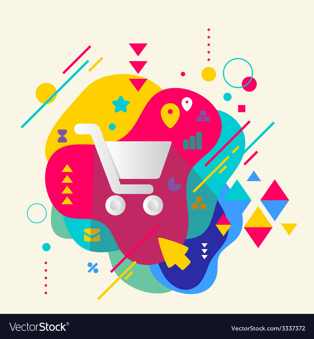 Shopping trolley on abstract colorful spotted vector   Price: 3 Credit (USD $3)