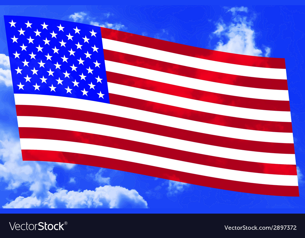 Usa flag on sky vector | Price: 1 Credit (USD $1)