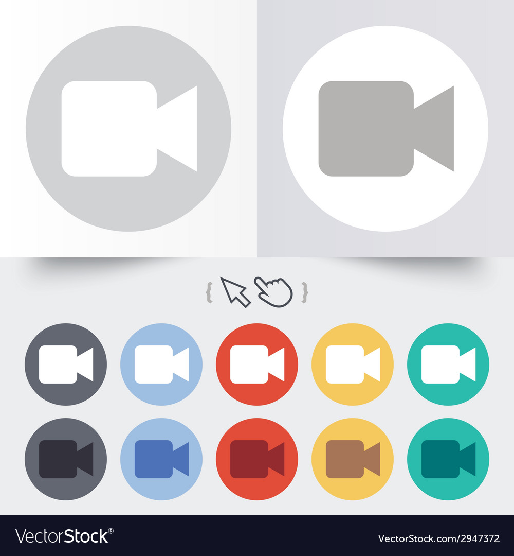 Video camera sign icon video content button vector | Price: 1 Credit (USD $1)