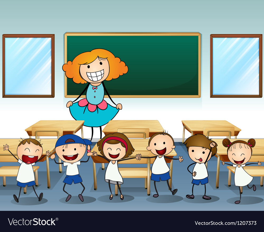 A teacher and her students vector | Price: 1 Credit (USD $1)