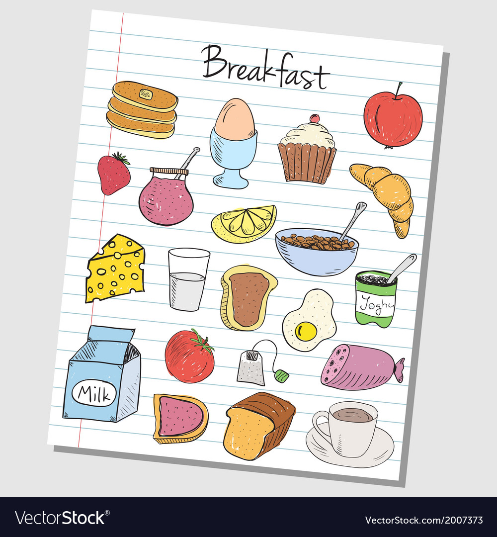 Breakfast doodles lined paper colored vector | Price: 1 Credit (USD $1)
