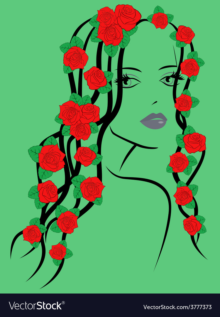 Fashionable girl with roses on hair vector | Price: 1 Credit (USD $1)