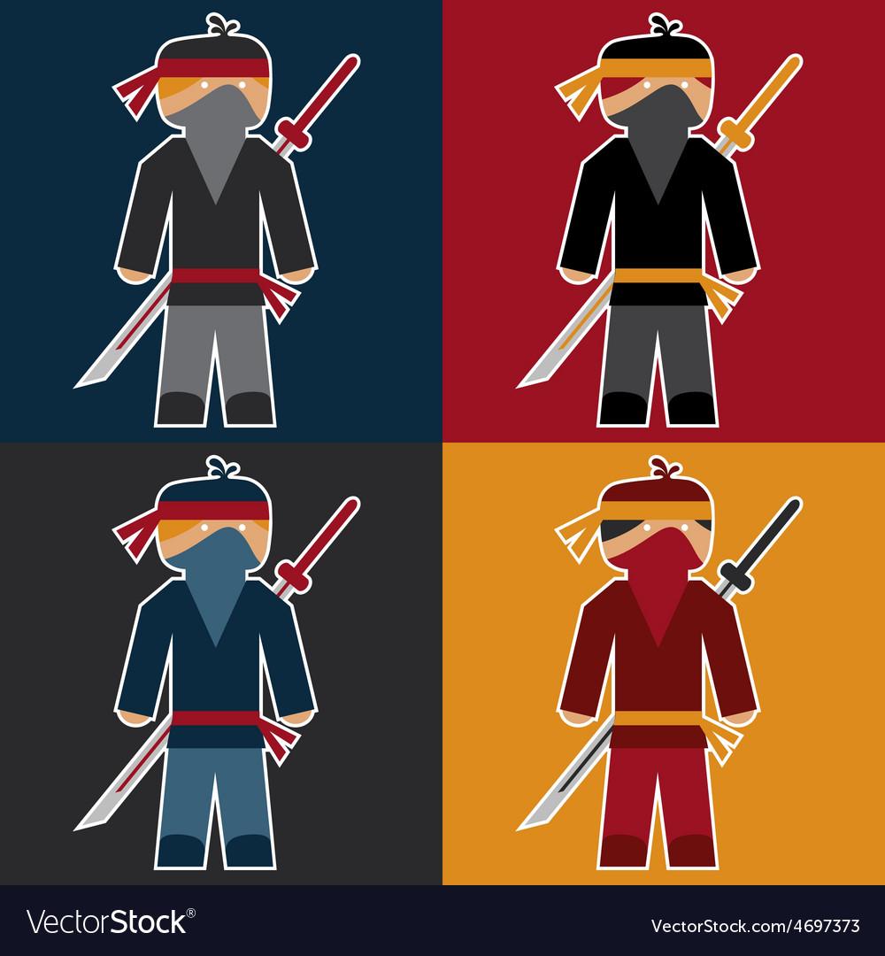 Flat sticker of ninja vector | Price: 1 Credit (USD $1)