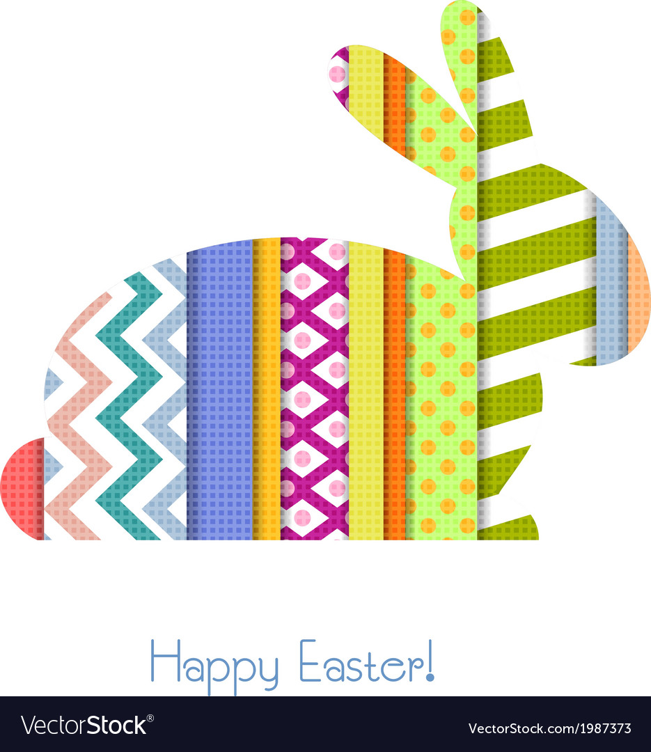 Greeting card with easter bunny vector | Price: 1 Credit (USD $1)